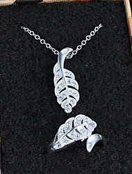 Cheap Gift Silver Plated Leaf Design Necklace/Ring Jewelry Sets with Zircon