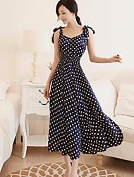 Women's Fashion Slim Polka Dot Sleeveless Dress