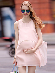 Women's Fashion Chiffon Sleeveless Maternity Dress Double Layers Loose Nursing Dress For Baby Shower