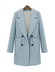 Damen Solide Retro Mantel,Winter Hemdkragen Langarm Blau / Beige Dick Wolle / Baumwolle / Andere