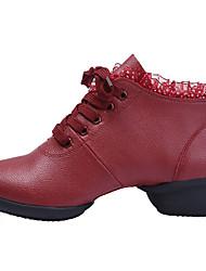 Sapatos de Dança (Preto / Vermelho / Branco) - Feminino - Não Personalizável - Latina / Tênis de Dança / Moderna / Salsa