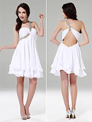 Cocktail Party/Graduation/Sweet 16/Holiday Dress - White Plus Sizes A-line/Princess One Shoulder/Sweetheart Short/MiniChiffon/Stretch