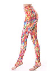 Yokaland Yoga Pants Body Shaper Peacock Print Stirrup Legging Workout Fitness Yoga Pant