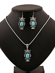 Turquoise Owl Pendant Silver Necklace & Earrings Jewelry Set