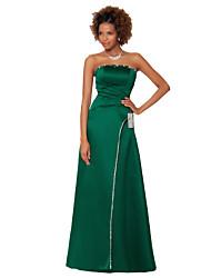Floor-length Satin Chiffon Bridesmaid Dress -Sheath/Column Strapless