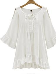 W.W.W  Women's Round Dresses , Cotton Casual/Work Long Sleeve