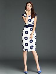Women's Casual Micro-elastic Short Sleeve Knee-length Dress (Acrylic)
