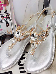 Women's Shoes Flat Heel Round Toe Sandals Casual Silver/Gold