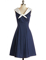 Women's Party/Cocktail Vintage A Line / Skater Dress,Polka Dot V Neck Knee-length Sleeveless Blue Cotton / Polyester Fall High Rise