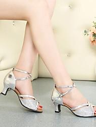 Women's Dance Shoes Paillette Paillette Latin / Ballroom High Heels Chunky HeelIndoor / Practice / Beginner /