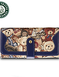 DAKA BEAR® Women Fashion Bowknot Clutch Card Purse Wallet Long PU Handbag