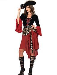 Costumes de Cosplay / Costume de Soirée Pirate Fête / Célébration Déguisement Halloween Rouge Mosaïque Robe / Ceinture / ChapeauHalloween