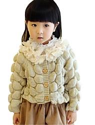 Kids Girl's Spring Fall Knitting Petals Round Neck Long Sleeve Sweater & Cardigan (Cotton Blend)
