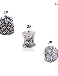 Euner® 925 Sterling Silver Pineapple Charm for Jewelry Making Wholesale 925 Solid Sterling Silver Loose Beads
