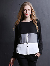 Women's Solid/Patchwork Black Blouse , Round Neck Long Sleeve Button