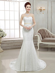 Trumpet / Mermaid Wedding Dress Sweep / Brush Train Sweetheart Lace with Beading