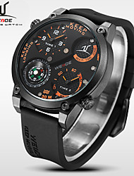 WEIDE Men Universe Series Military Compass Dual Time Zones Black Silicone Strap Quartz Wrist Watch