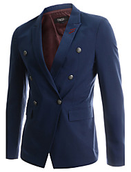 Men's Solid Casual Blazer,Cotton Long Sleeve Black / Blue