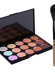 New 15Colors Salon Contour Face Cream Makeup Concealer Palette+Blush Brush