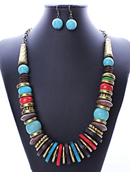 European and American fashion national wind ancient bronze turquoise necklace earrings hand three set # 0221
