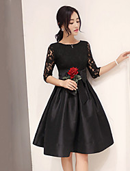 Women's Casual Micro-elastic ½ Length Sleeve Knee-length Dress (Lace) (More Colors)