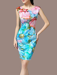 Women's Vintage Party Micro Elastic Sleeveless Knee Length Dress (Satin)