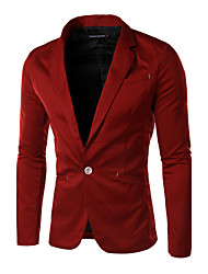Masculino Blazer Casual Cor Solida Manga Comprida Algodão Preto / Vermelho
