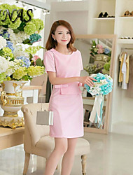 2015 Summer Women's Vintage/Sexy/Casual/Cute Micro-elastic Short Sleeve Above Knee Dress (Spandex/Polyester)
