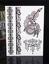 4PCS Tatouage Black Temporary Tattoo Sticker Taty Tatoo Metal Tatoos Fake Tattoo Lace Wedding Tattoos Body Tatto
