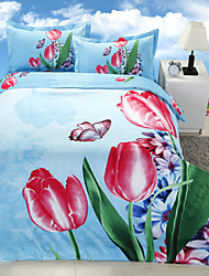 Blue/Green/Red Polyester/Poly/Cotton King Duvet Cover Sets