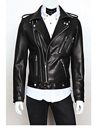 Winter 2015 new temperament Mens Motorcycle Leather Multi zipper Lapel Metrosexual fashion design.