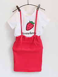 Lovely Strawberry Short-sleeved Embroidered +Skirt Suit (2 Pcs)