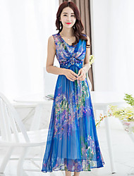 Women's Print Blue Dresses , Vintage / Party V-Neck Maxi