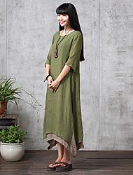 De las mujeres Corte Ancho Vestido Casual Maxi Escote Redondo Lino