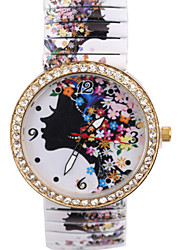Bohemian Style Women'S Watch Blue And White Flower Girl Elastic Strip Diamond Watches