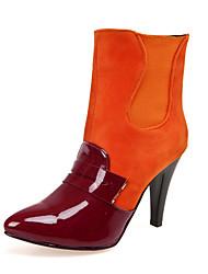 Damen-Stiefel-Büro / Lässig / Party & Festivität-Kunstleder-Stöckelabsatz-Modische Stiefel-Schwarz / Rot / Orange / Mandelfarben