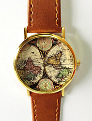 Map Watch Vintage Style Leather Fashion Watch Women Watches Boyfriend Watch World Map Men's Watch  Silver and Gold Case Cool Watches Unique Watches