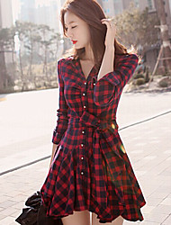 Women's Shirt Collar Dress ,  Asymmetrical Long Sleeve