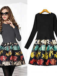 Women's Print Black / Gray Dresses , Casual Round Long Sleeve