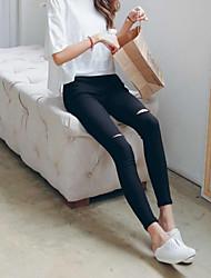 Women's Solid White/Black Skinny Pants , Vintage Hole