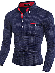 Men's Long Sleeve Shirt , Cotton Blend/Microfiber Casual/Work/Formal/Plus Sizes Print