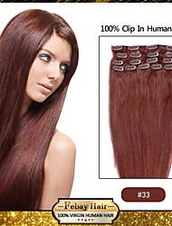 Febay brand 20-22inch 8pcs 100g/set Dark Auburn (#33) Indian hair Clip In Human Hair