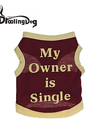 DroolingDog® Cool My owner is single Cotton Vest for Dogs (Assorted Colors Assorted Sizes)