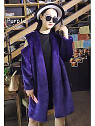 Fur Coats Coats/Jackets Long Sleeve Faux Fur Grape/Purple