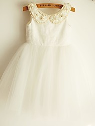 Princess Beaded Collar  Knee-length Flower Girl Dress - Lace/Tulle Sleeveless