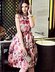 Women's Round Flower Dresses , Chiffon/Cotton Blend/Others Vintage/Sexy/Casual Sleeveless YaYiGe