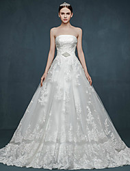 Ball Gown Wedding Dress Court Train Strapless Tulle with