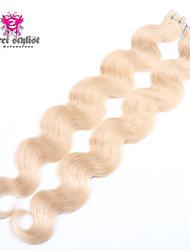 18 '' - 24 '' 20pcs vague de corps bande de trame de la peau en brésilien extensions de cheveux humains vierges # 27 blondes de fraises