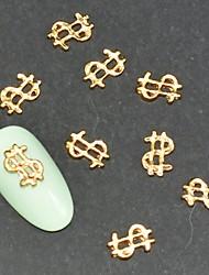 10pcs Fashion Gold Alloy Logo3D Nail Art Decoration