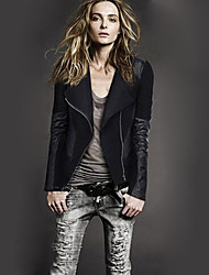 Women's Solid Black Jackets , Casual Stand Long Sleeve